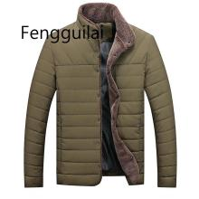 Casual Men  2019 Jacket Winter Warm Mens Solid color Cotton Blend Brand Coats Thick Outwear