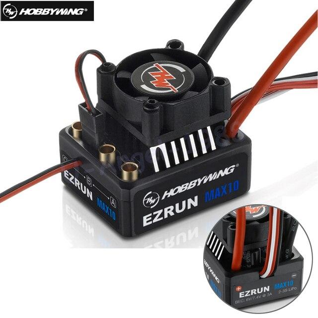 Hobbywing EZRUN MAX10 60A กันน้ำ ESC 6V/7.4V BEC 2 3S Lipo ความเร็วคอนโทรลเลอร์ Brushless ESC สำหรับ 1/10 RC รถ