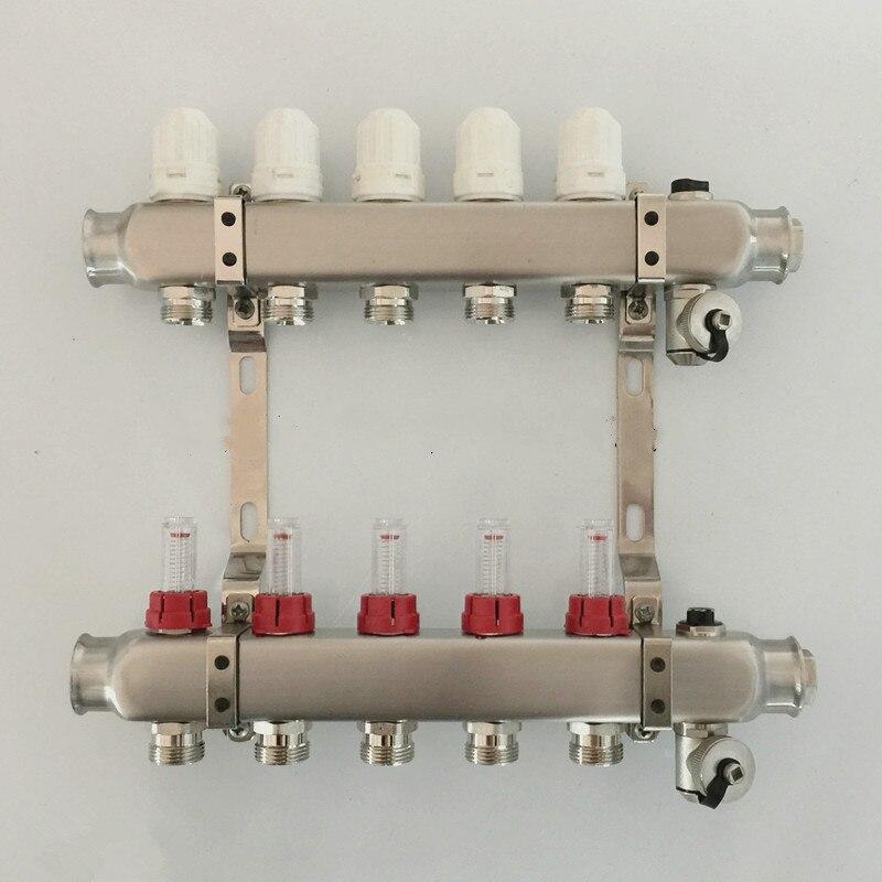 Aquecimento por piso radiante manifolds 5 portas de aço inoxidável