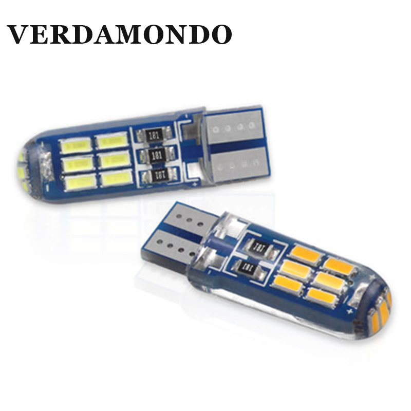 1 Pcs High Quality Silicone Car LED Light T10 15SMD 4014 LED W5W 168 Auto License Plate Wedge Light Bulb Lamp DC 12V