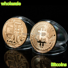 Free shipping 20 PCS/LOT Bitcoin 1oz .999 Gold Plated Collectible Coin non-magnetic coin New Year Gift