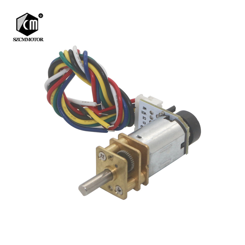 6VDC 39RPM to 1500RPM Geared Motor 12mm Gearbox Full Metal Gearwheel Speed Reduction Micro <font><b>Encoder</b></font> Gear Motor For Mini Robot image