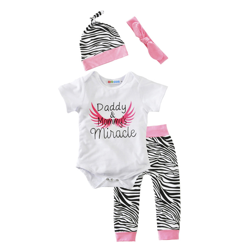 Daddy and Mommy s Miracle / baby outfit / todder outfit /romper + zebra-stripe leggings + hat + headband /2017