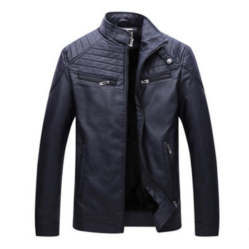 Brand Autumn Winter Best Selling Fashion PU Faux Leather Jacket Men Good Quality Casual Slim Mens Warm Jacket Coat