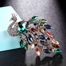 zlxgirl Big size Rhinestone Peacock Brooch jewelry of wedding bridal bijoux Womens Pin fashion scarf pins hats accessory