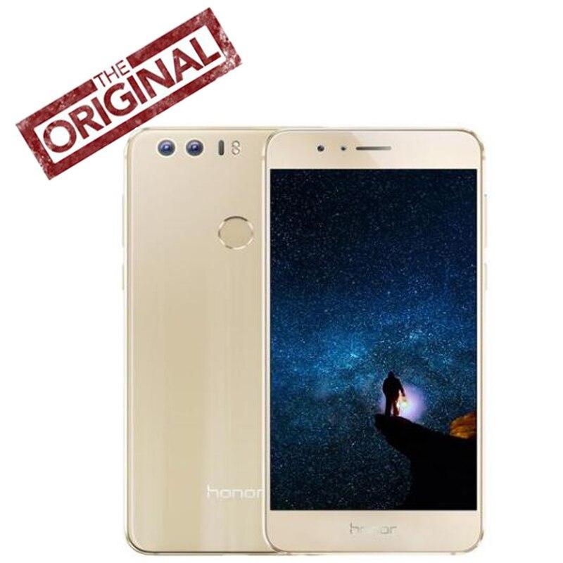 Новый оригинал Huawei Honor 8 сотовый телефон 4G RAM 64g ROM Восьмиядерный процессор KIRIN 950 двойной сзади 12.0MP 5,2 дюйма 1920 * 1080P сканер отпечатков пальцев ID