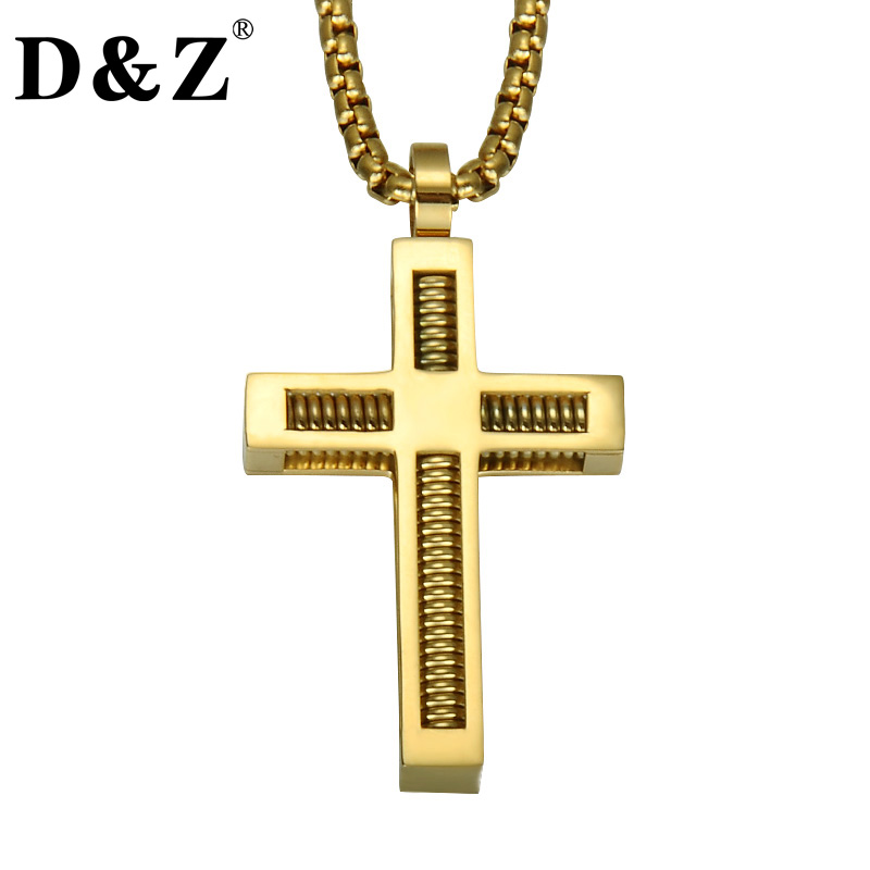 D&Z Gold Color Two Layers Spring <font><b>Cross</b></font> Pendant Necklace Christian Crucifix Titanium Stainless Steel Necklaces for Men Jewelry