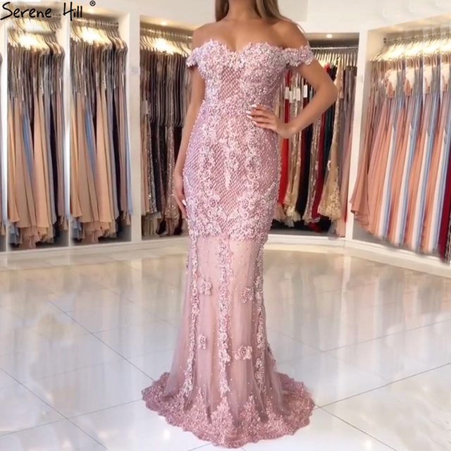 Off Shoulder Arabic Long Turkish Pink Lace Beaded Mermaid Formal Evening Prom Gown Lebanon Abiye Party Gowns Dresses BLA6560
