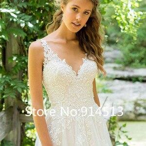 Image 3 - 2020 Vestido De Noiva A Line V Neck Wedding Dress Top Lace Appliques Bridal Dress Custom Made Wedding Gown Sweep Train