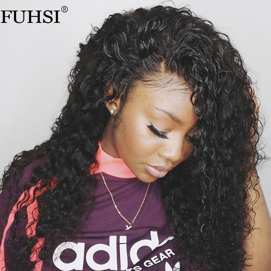 FUHSI 13x6 Deep Part Curly Lace Front Wig Brazilian Remy Lace Front Human Hair Wigs For