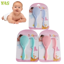 2Pcs Safety Soft Baby Hair Brush Infant Comb Grooming Shower Design Pack Kit Color Random delivery #330