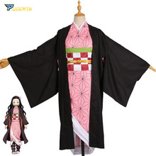 Anime demônio slayer kamado nezuko cosplay trajes kimono kimetsu não yaiba feminino rosa trajes de halloween para mulher