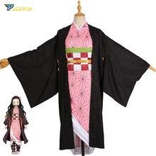 Аниме Demon Slayer Kamado Nezuko, костюм для косплея, Kimetsu no Yaiba, женское розовое кимоно, костюм для Хэллоуина