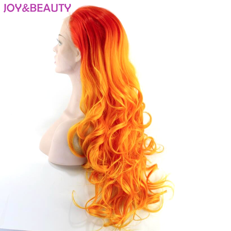 28 inch Red Orange Synthetic Ombre Lace Front Wig Heat Resistant Long Wavy Hair For Cosplay wigs