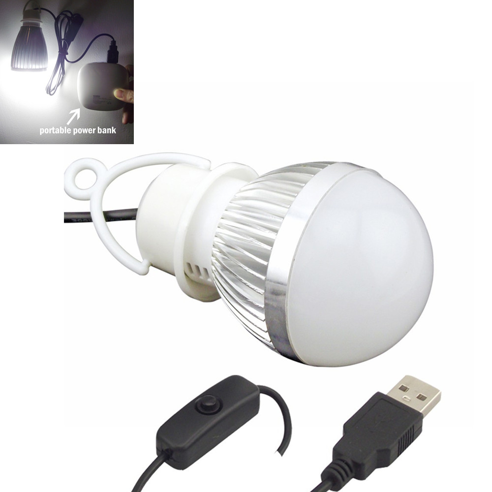 buy 5v usb led bulb with switch 5w 7w portable led bulb for power bank computer. Black Bedroom Furniture Sets. Home Design Ideas