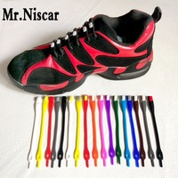 Mr Niscar 1 Set 16 Pcs 17 Color No Tie Shoelaces For Adults Kids Unisex Elastic