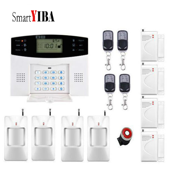 SmartYIBA Anti-theft Wired Siren Sensor Detector Home Smart Alarm System+4 remotes GSM SMS Alarm Kits smartyiba gsm sms alarm kits with anti theft motion detector wireless gsm home security alarm system