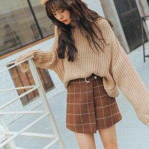 Image 3 - 2020 WomenS Ulzzang Autumn And Winter Harajuku Thickened Woolen Plaid Retro Skirt Female Cute Japanese Kawaii Skirts For Women