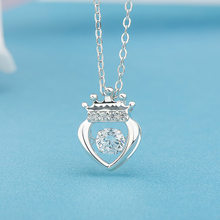 Heezen Heart-Shaped 5mm AAAA Zircon Dancing Stone Pendant Necklace Trendy CROWN Necklace Makes You More Attractive & Charming(China)