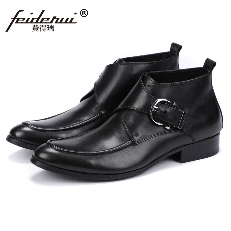 New Vintage Genuine Leather Man Footwear Handmade Monk Strap Formal Dress Shoes Round Toe Men's Cowboy Martin Ankle Boots JS111 luxury snake pattern patent leather men s monk strap formal dress footwear round toe handmade male casual shoes for man ymx411