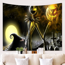 Horror Skull Pumpkin Printed Tapestry Wall Hanging Tomb Moon Psychedelic Wall Tapestry Mandala Fabric Halloween Decor Home Throw halloween witch printed waterproof wall hanging tapestry