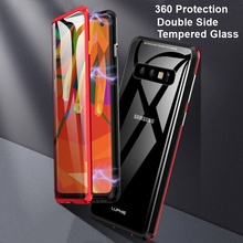 Luxuxy Tempered Glass Case For Samsung Galaxy S10 Plus Magnetic 360 Cases Double Side Metal Cover S8 S9 Note 9