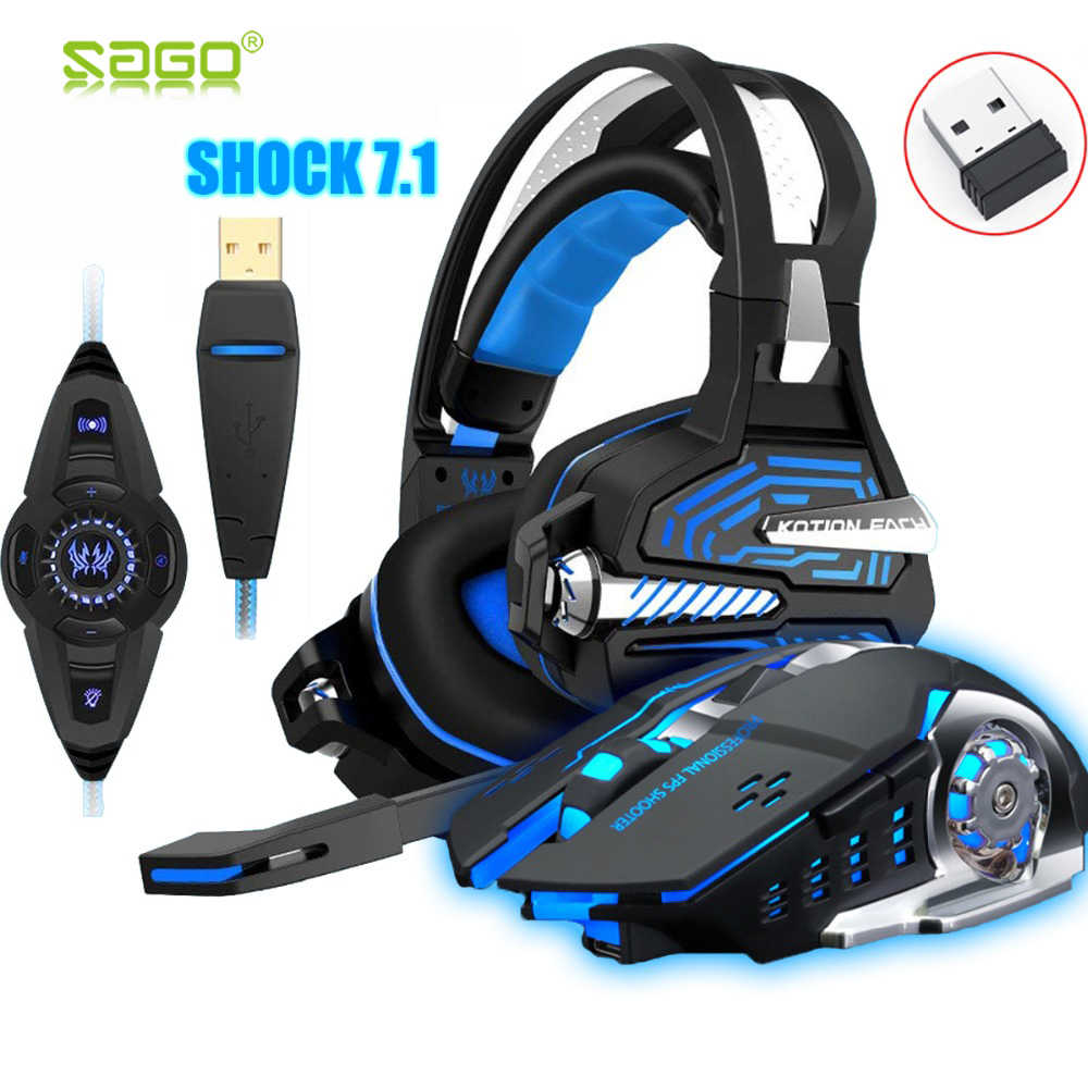 Headset untuk PS4 Xbox Getaran Gaming 7.1 Surround Sound PC Casque GAMING Gamer Headset + 2.4GH 6D Optik 2400 Dpi mouse Nirkabel
