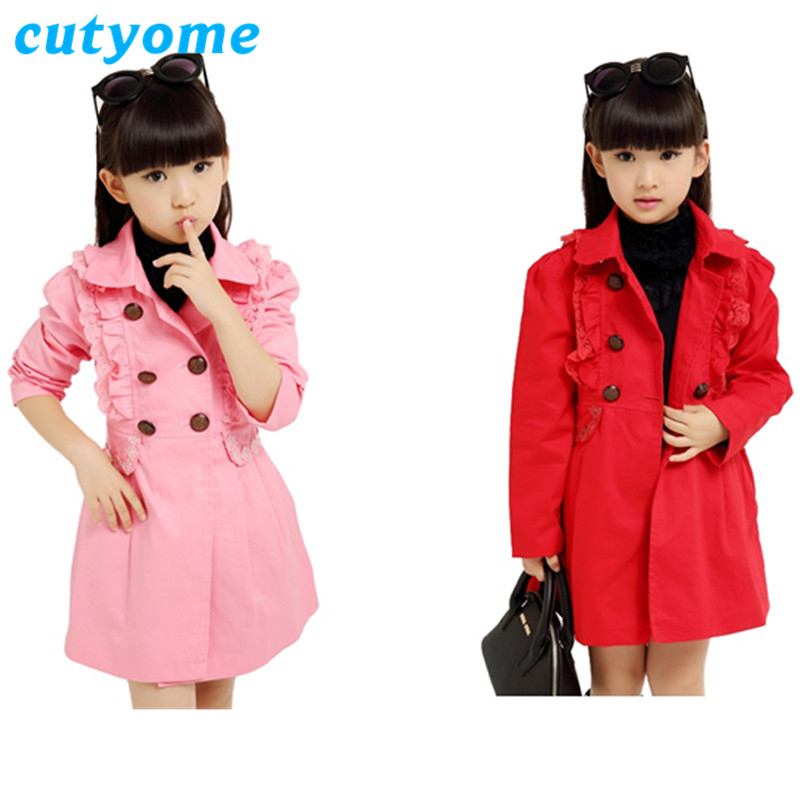 Teenage Girls Windbreaker Jacket Cutyome Turn Down Collar Ruffles Lace Double Breasted Long Trech Blazers Cute Kids Spring Coats vogue inclined front fly multi button turn down collar long sleeves jacket for men