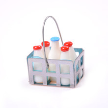 1/12 Dollhouse Furniture Miniature Metal Milk Basket with 5pcs Bottles Set Dolls House Kitchen Porch Accs Decor High Quality(China)