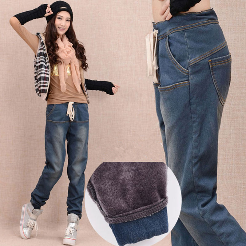 Winter Plus Velvet Thick Jeans Woman Lace Up Elastic Waist Boyfriend Jeans For Women Plus Size Long Harem Pants Warm Jeans C1504