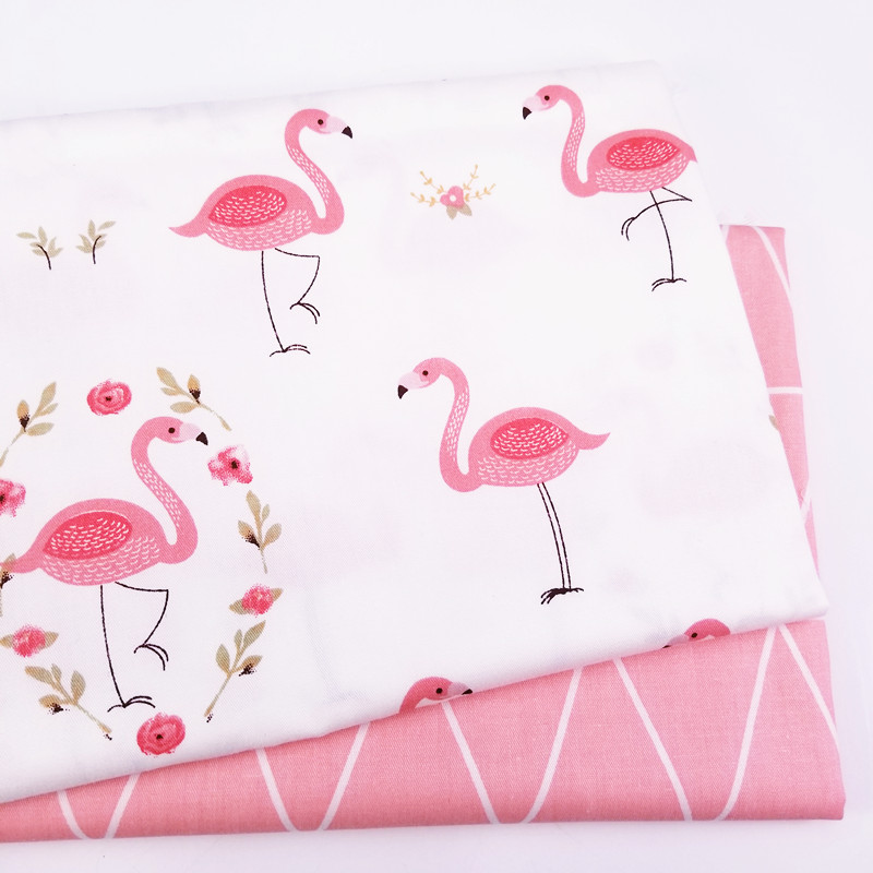 Hot Printed Flamingo Kids Twill Cotton Fabric,Patchwork Cloth For DIY Sewing Quilting Fat Quarters Material For Baby&Child