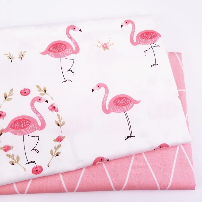 Популярная детская саржевая хлопчатобумажная ткань с принтом фламинго, Лоскутная Ткань для самостоятельного шитья, квилтинга, материал че...