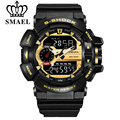 SMAEL Men Gold Sports Watches LED Quartz Dual Display Outdoor Military Waterproof Watch S-SHOCK New Men's Electronic Wristwatch