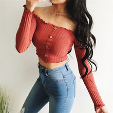 Trendy Women clothes solid Casual Off Shoulder Button pullover Blouses Long Sleeve cotton Shirts one pieces(China)