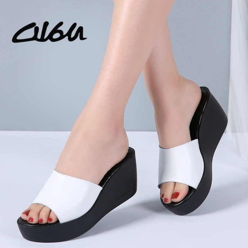 Detail Feedback Questions about O16U 2018 Summer Women Slippers Mules Shoes  Casual Wedges Platform Sandals High Heels Shoes Women Leather Thick Sole  Flip ... 465c9267cbec