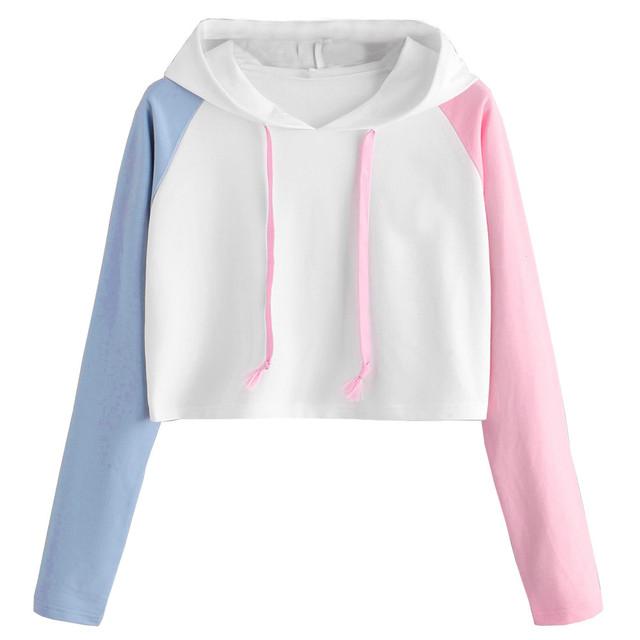 Oversized Short Hoodies Pullover Women Kawaii Patchwork Long Sleeve Casual Loose Sweatshirt Girls Lady Crop Top Jumper Hoodie #Y