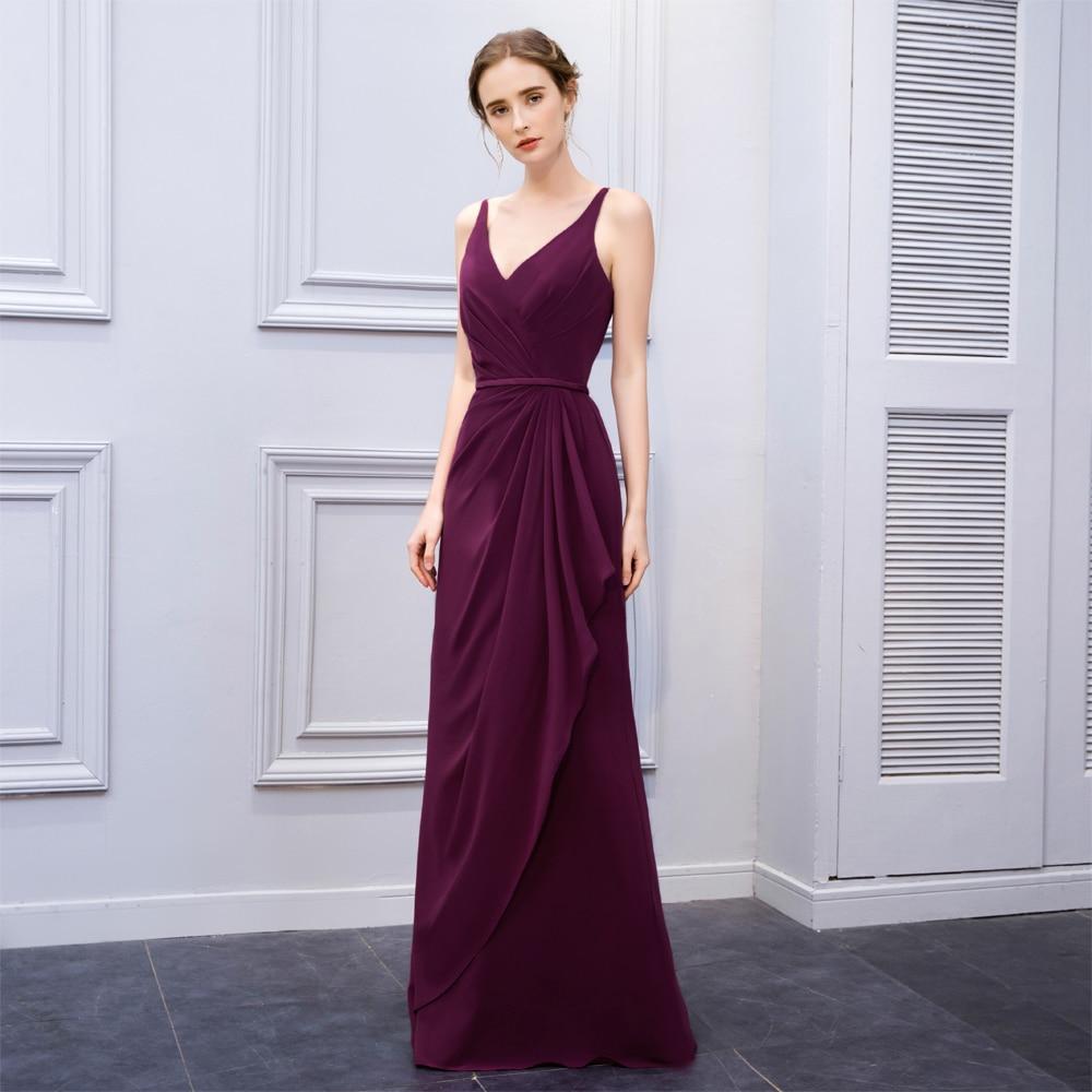 BeryLove Hot Selling zeemeermin druif prom dresses 2018 lange v-hals - Jurken voor bijzondere gelegenheden