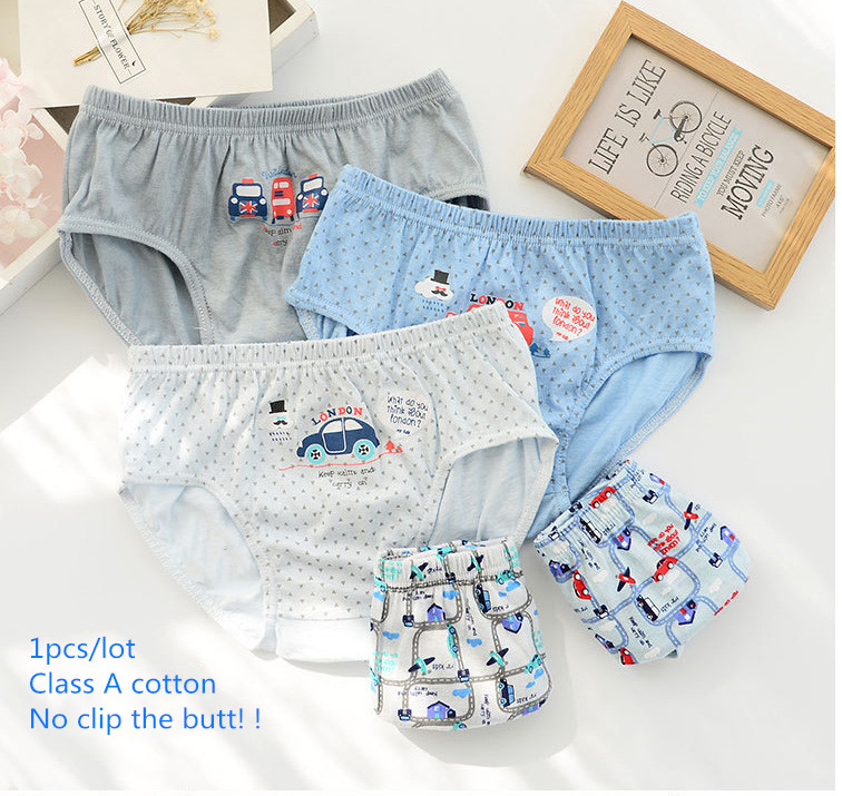 1pcs For Boys Children Panties Solid Cartoon Cotton Material Breathable Briefs Cars Bus Printed Comfortable Kid Underwear