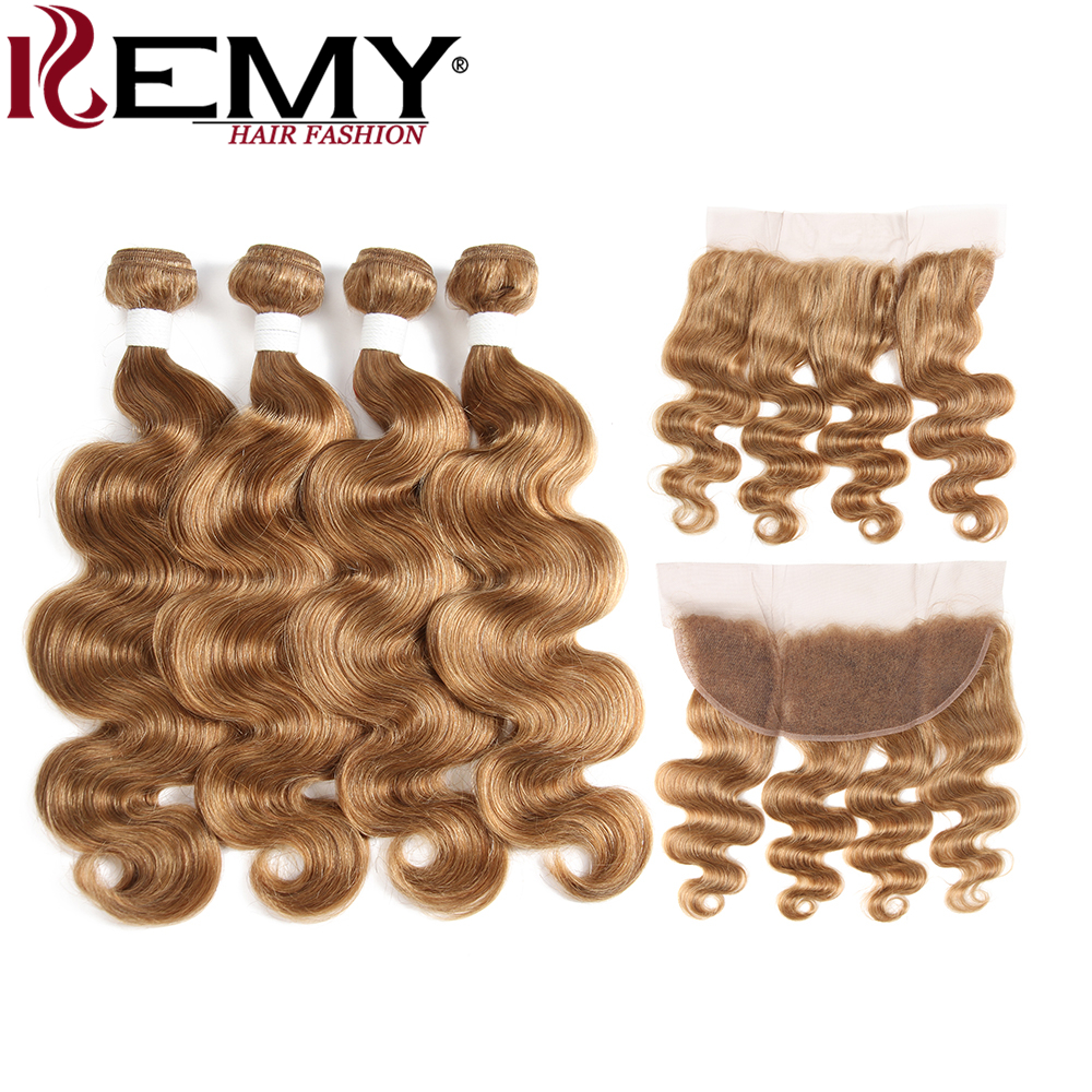 KEMY HAIR Pre-Colored Brazilian Body Wave 4Pcs Human Hair Bundles With Frontal 4*13 Non-Remy Hair Weaves Brown Color 27#