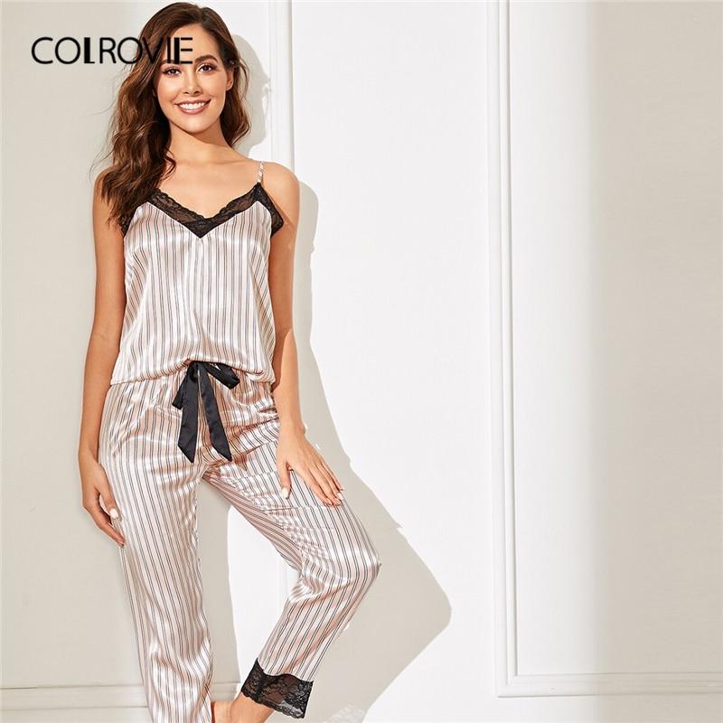Image 4 - COLROVIE Pink Lace Trim Satin Cami Top And Striped Pants Women Pajama Set 2019 Spring Sleeveless Sleepwear Sexy Nightgowns-in Pajama Sets from Underwear & Sleepwears