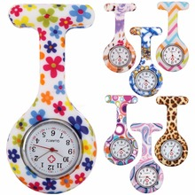 Медсестры камуфляж Зебра леопардовый цветок печать карманные часы модные женские доктор Pin Леди резиновые часы брошь часы