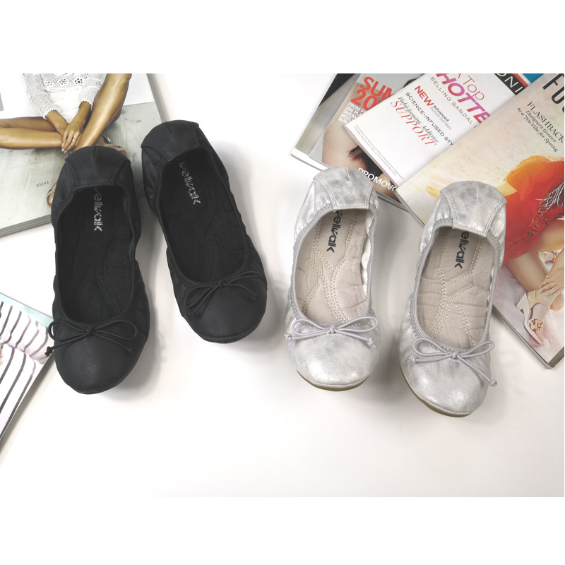 Fashion Women Butterfly-knot Folding Ballerinas 2018 Spring Basic Round Toe Flexible Ballet Flats Causal Women Shoes Size 36-40