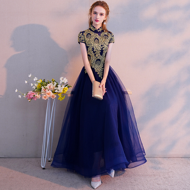 A Line   Evening     Dress   Vintage Gold Lace Embroidery Party GownsElegant Blue Zipper Long Formal Gown For Women Prom   Dresses   E021