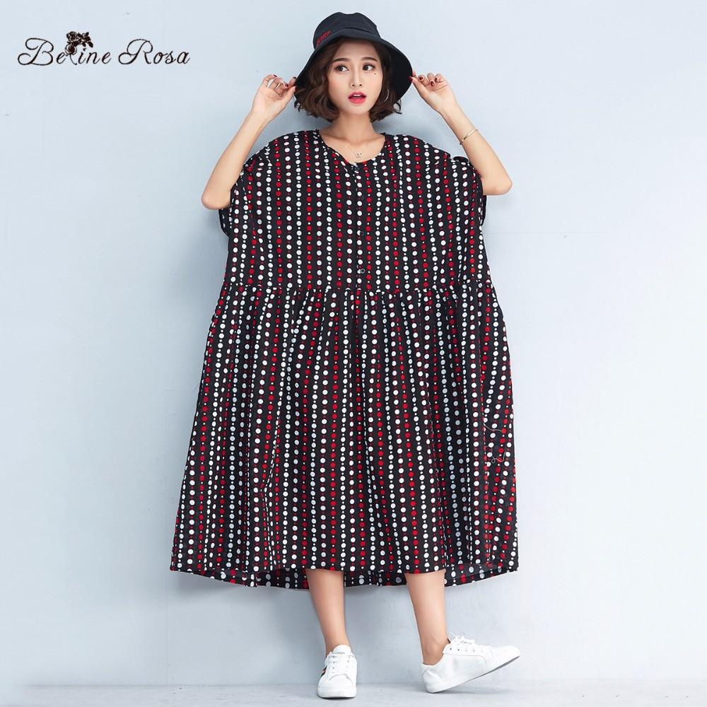 9ba2647a390 BelineRosa 2018 Women s Big Sizes Dresses 4XL 5XL 6XL Big Sizes Women  Clothing Polka Striped Large Size Dress Women TYW00744-in Dresses from  Women s ...
