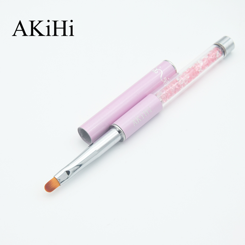 AKiHi Arts Cleaning Brushes Nail UV Gel Polish Pen Painting Draw Manicure Tool Round