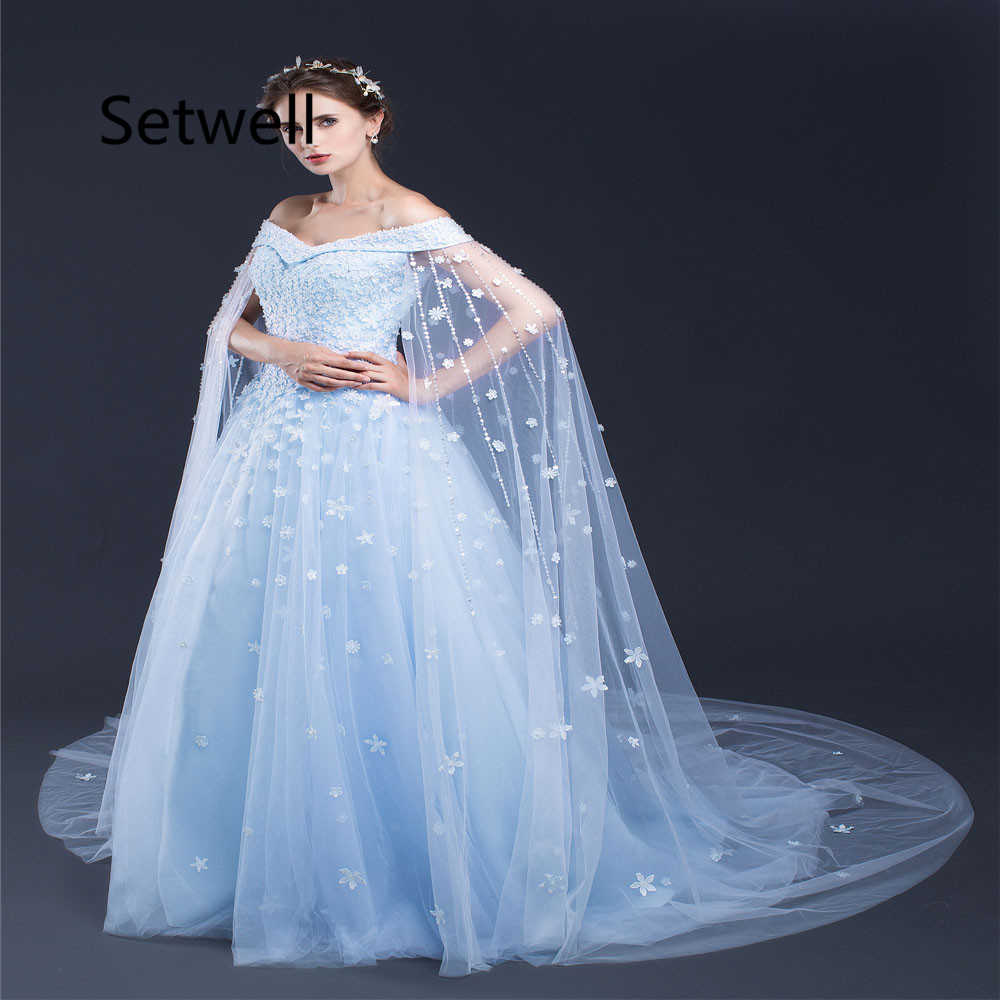 Setwell Unique Ball Gown Wedding Dress With Cape Sexy Off Shoulder ...