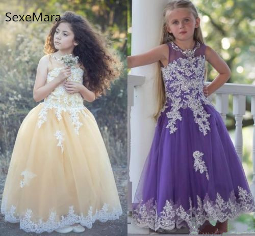 Customized New Flower Girls Dresses Beadeds Applique Lace Dresses Kids Puffy Birthday Party Pageant Gown Champagne Purple Customized New Flower Girls Dresses Beadeds Applique Lace Dresses Kids Puffy Birthday Party Pageant Gown Champagne Purple