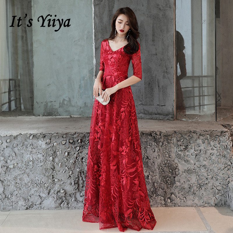 It 39 s YiiYa Formal Evening Dress V neck Printed Half Sleeve Floor length Party Gown Lace Up Zipper back Elegant Prom Dresses E107 in Evening Dresses from Weddings amp Events