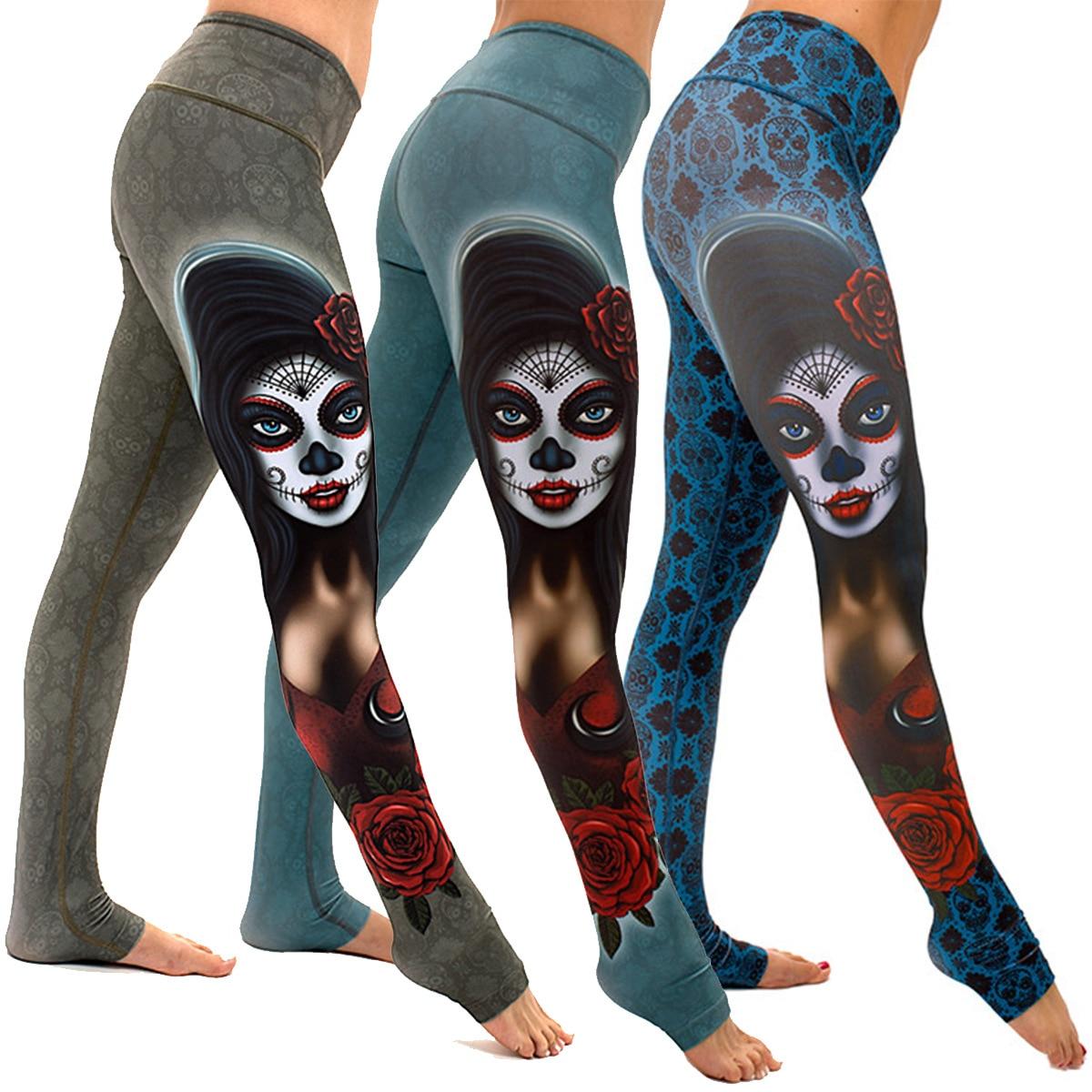 JIGERJOGER 2018 winter new High rise Women s Ghost Punk Skull face Leggings  3D print tight Yoga Legging Regular Size S M L XL-in Yoga Pants from Sports  ... 58d48d166bae