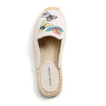 Tienda Soludos Women's Simple Mule Breathable Flat Espahemp Summer Rubber Cotton Fabric Floral Drilles Shoes, Pure Color Mules  3